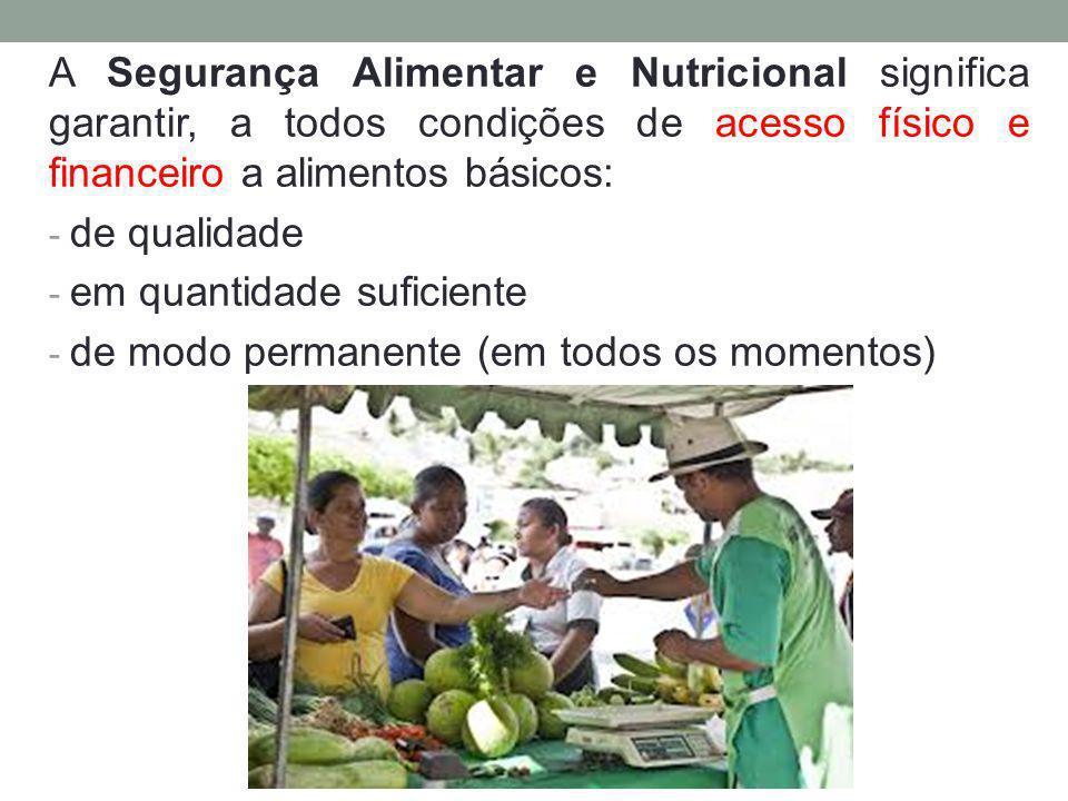 A Segurança Alimentar e Nutricional significa garantir, a todos condições de acesso físico e financeiro a alimentos básicos: - de qualidade - em quant