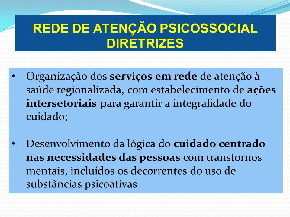 REDE DE ATENÇÃO PSICOSSOCIAL DIRETRIZES Organização dos serviços em rede de atenção à saúde regionalizada, com estabelecimento de ações intersetoriais