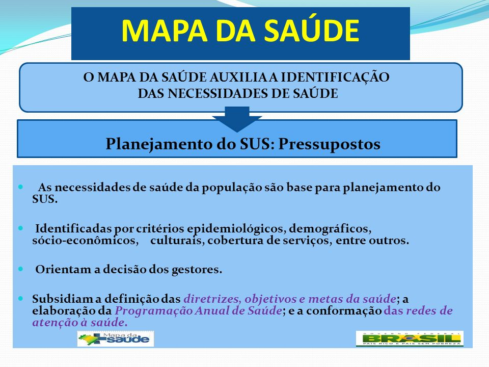MAPA DA SAÚDE As necessidades de saúde da população são base para planejamento do SUS. Identificadas por critérios epidemiológicos, demográficos, sóci