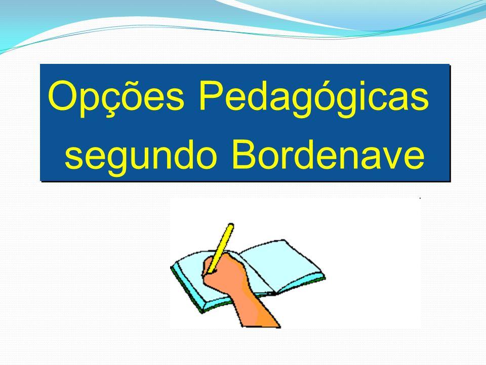 Opções Pedagógicas segundo Bordenave Opções Pedagógicas segundo Bordenave