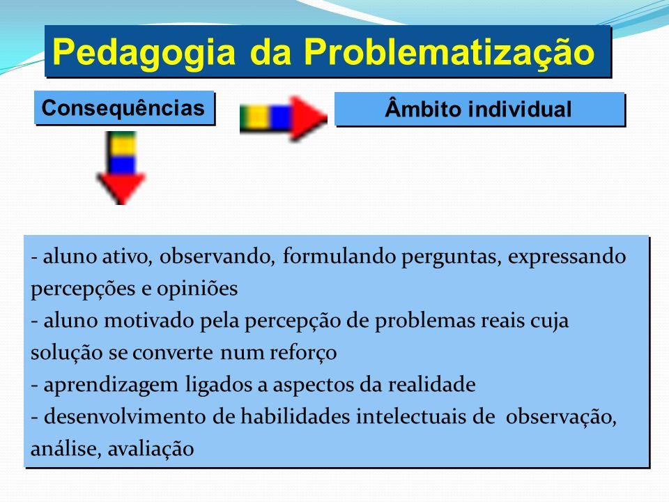 - aluno ativo, observando, formulando perguntas, expressando percepções e opiniões - aluno motivado pela percepção de problemas reais cuja solução se