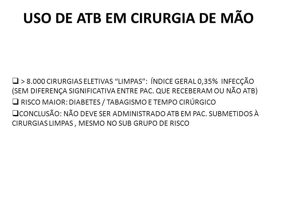 USO DE ATB EM CIRURGIA DE MÃO > 8.000 CIRURGIAS ELETIVAS LIMPAS: ÍNDICE GERAL 0,35% INFECÇÃO (SEM DIFERENÇA SIGNIFICATIVA ENTRE PAC.