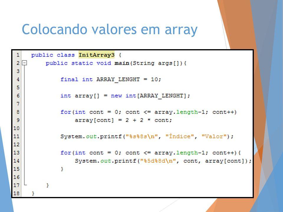 Colocando valores em array