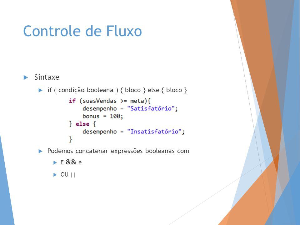 Controle de Fluxo Sintaxe if ( condição booleana ) { bloco } else { bloco } Podemos concatenar expressões booleanas com E && e OU ||