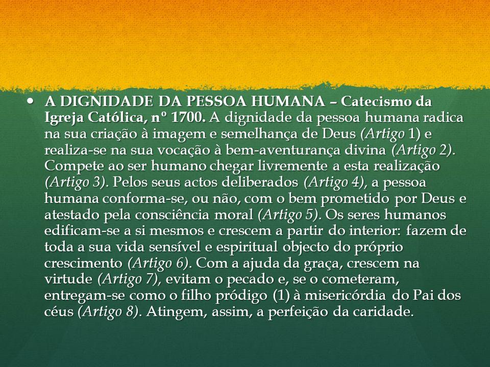 A DIGNIDADE DA PESSOA HUMANA – Catecismo da Igreja Católica, nº 1700. A dignidade da pessoa humana radica na sua criação à imagem e semelhança de Deus