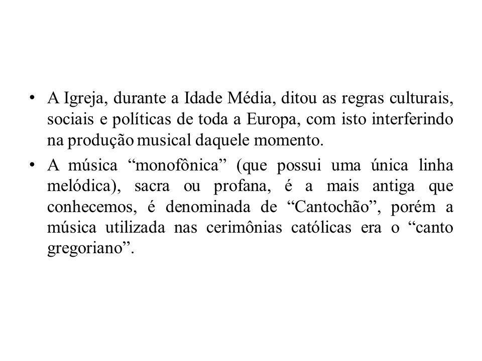 A Igreja, durante a Idade Média, ditou as regras culturais, sociais e políticas de toda a Europa, com isto interferindo na produção musical daquele mo