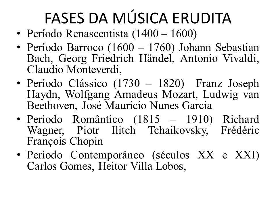 FASES DA MÚSICA ERUDITA Período Renascentista (1400 – 1600) Período Barroco (1600 – 1760) Johann Sebastian Bach, Georg Friedrich Händel, Antonio Vival