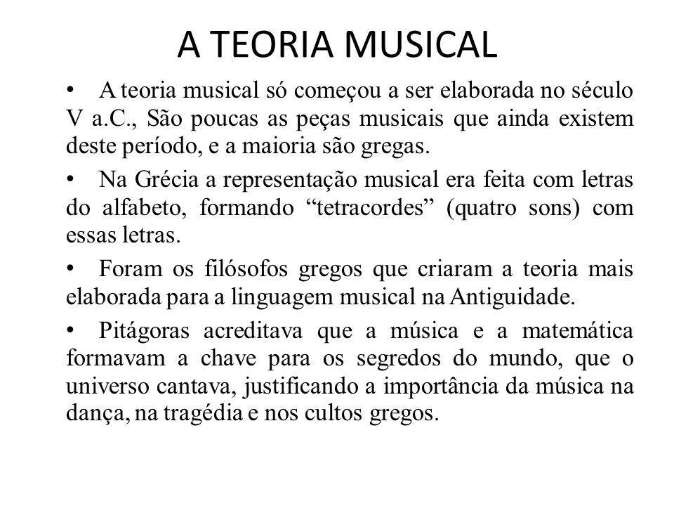A TEORIA MUSICAL A teoria musical só começou a ser elaborada no século V a.C., São poucas as peças musicais que ainda existem deste período, e a maioria são gregas.