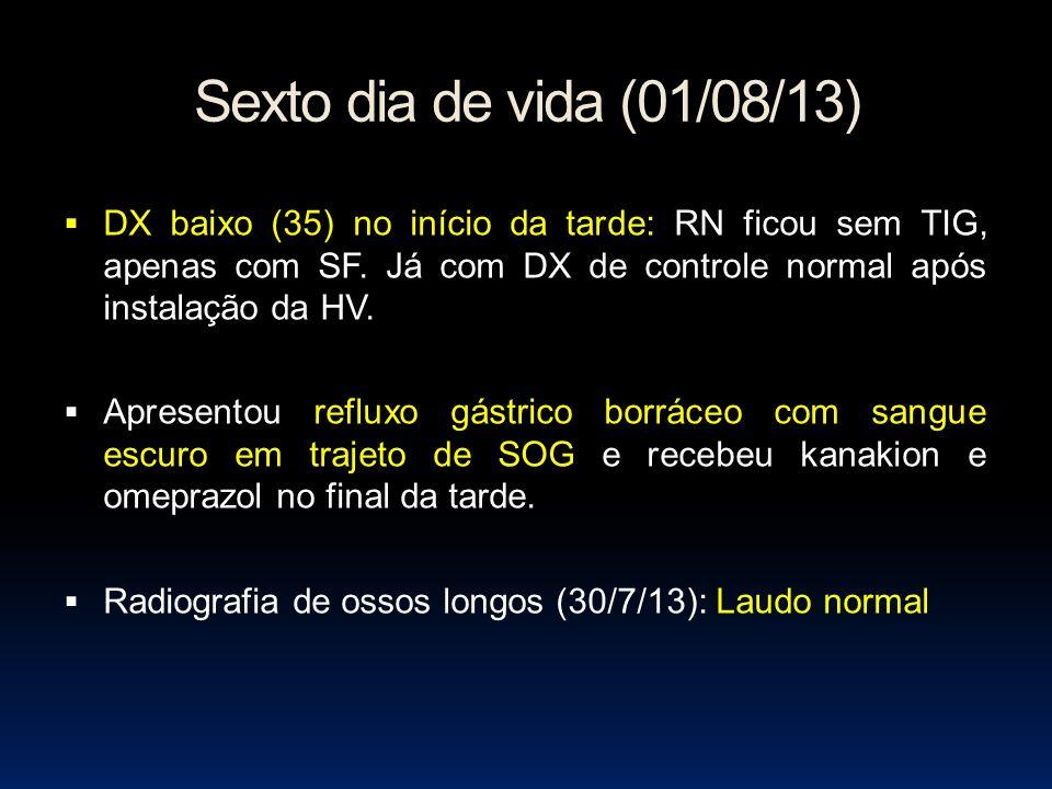Sexto dia de vida (01/08/13) DX baixo (35) no início da tarde: RN ficou sem TIG, apenas com SF. Já com DX de controle normal após instalação da HV. Ap
