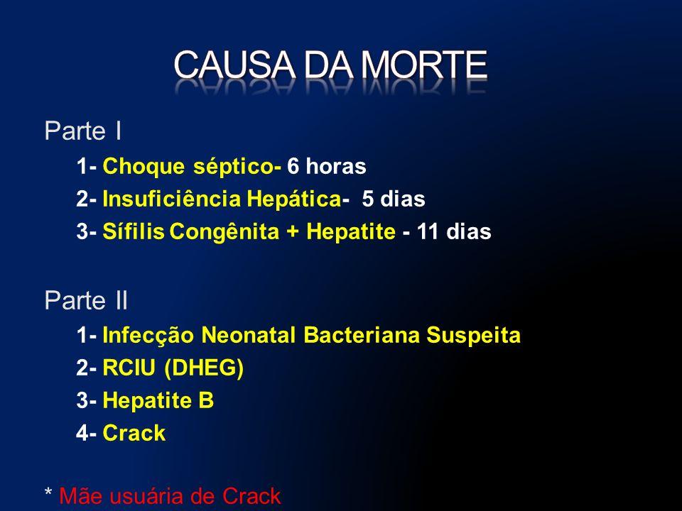 Parte I 1- Choque séptico- 6 horas 2- Insuficiência Hepática- 5 dias 3- Sífilis Congênita + Hepatite - 11 dias Parte II 1- Infecção Neonatal Bacteriana Suspeita 2- RCIU (DHEG) 3- Hepatite B 4- Crack * Mãe usuária de Crack
