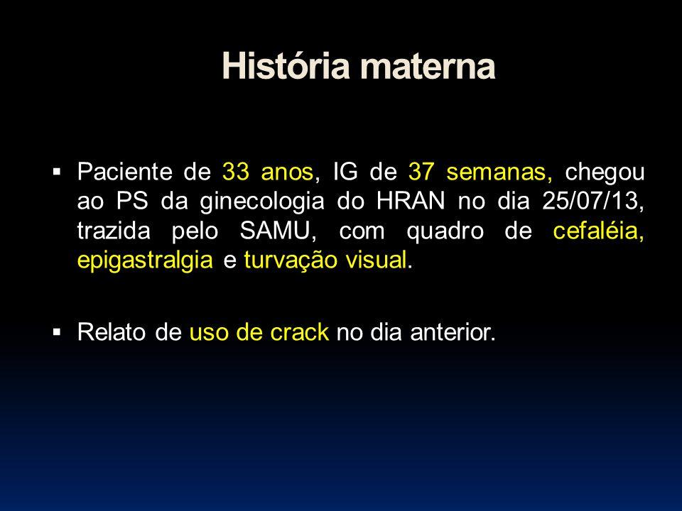História materna Paciente de 33 anos, IG de 37 semanas, chegou ao PS da ginecologia do HRAN no dia 25/07/13, trazida pelo SAMU, com quadro de cefaléia