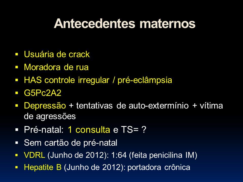 Antecedentes maternos Usuária de crack Moradora de rua HAS controle irregular / pré-eclâmpsia G5Pc2A2 Depressão + tentativas de auto-extermínio + víti