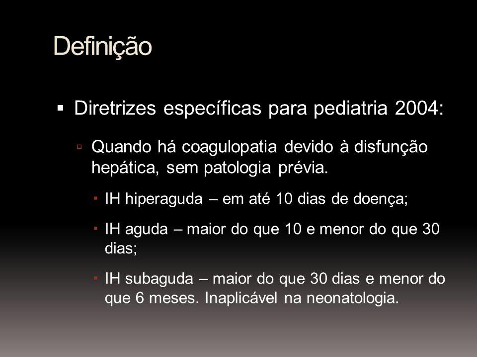 Definição Diretrizes específicas para pediatria 2004: Quando há coagulopatia devido à disfunção hepática, sem patologia prévia. IH hiperaguda – em até