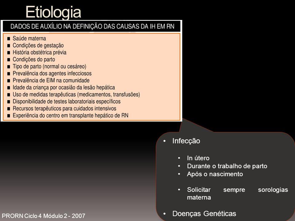 Etiologia Infecção In útero Durante o trabalho de parto Após o nascimento Solicitar sempre sorologias materna Doenças Genéticas PRORN Ciclo 4 Módulo 2 - 2007