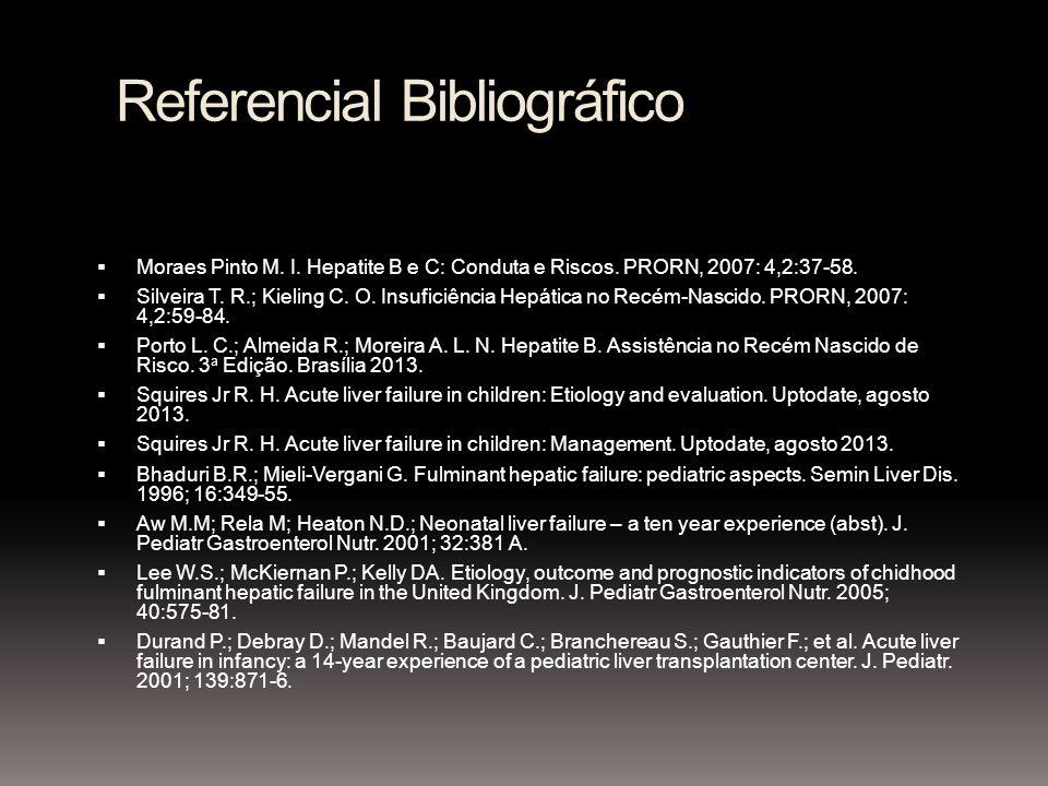 Referencial Bibliográfico Moraes Pinto M. I. Hepatite B e C: Conduta e Riscos. PRORN, 2007: 4,2:37-58. Silveira T. R.; Kieling C. O. Insuficiência Hep