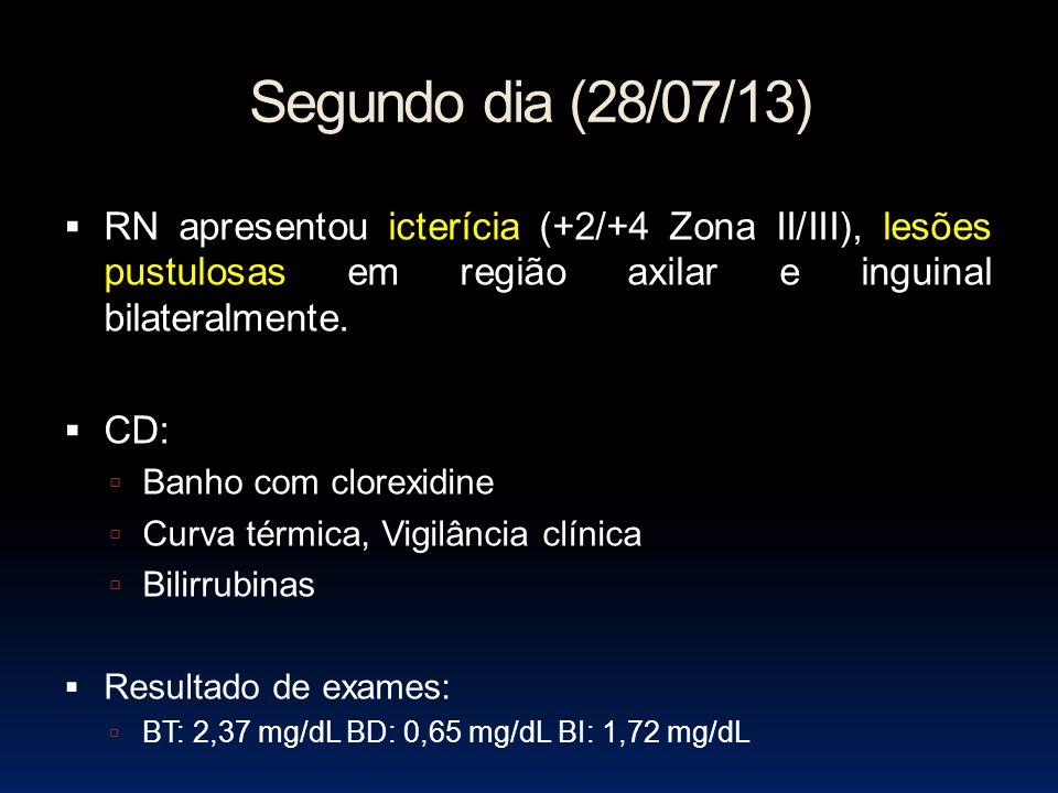 Segundo dia (28/07/13) RN apresentou icterícia (+2/+4 Zona II/III), lesões pustulosas em região axilar e inguinal bilateralmente. CD: Banho com clorex