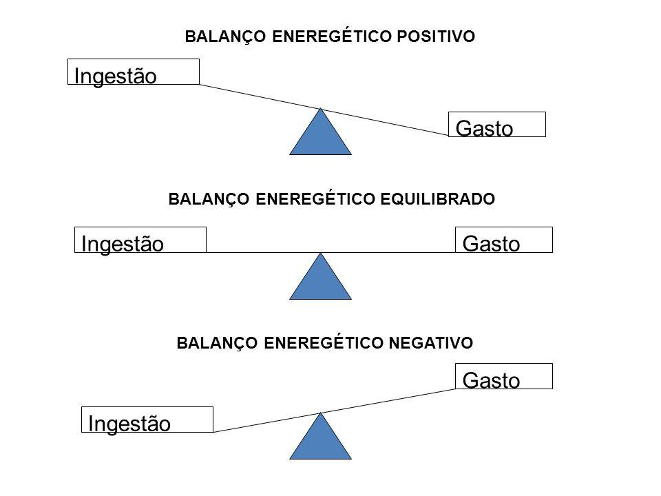 Ingestão Gasto Ingestão Gasto BALANÇO ENEREGÉTICO POSITIVO BALANÇO ENEREGÉTICO EQUILIBRADO BALANÇO ENEREGÉTICO NEGATIVO