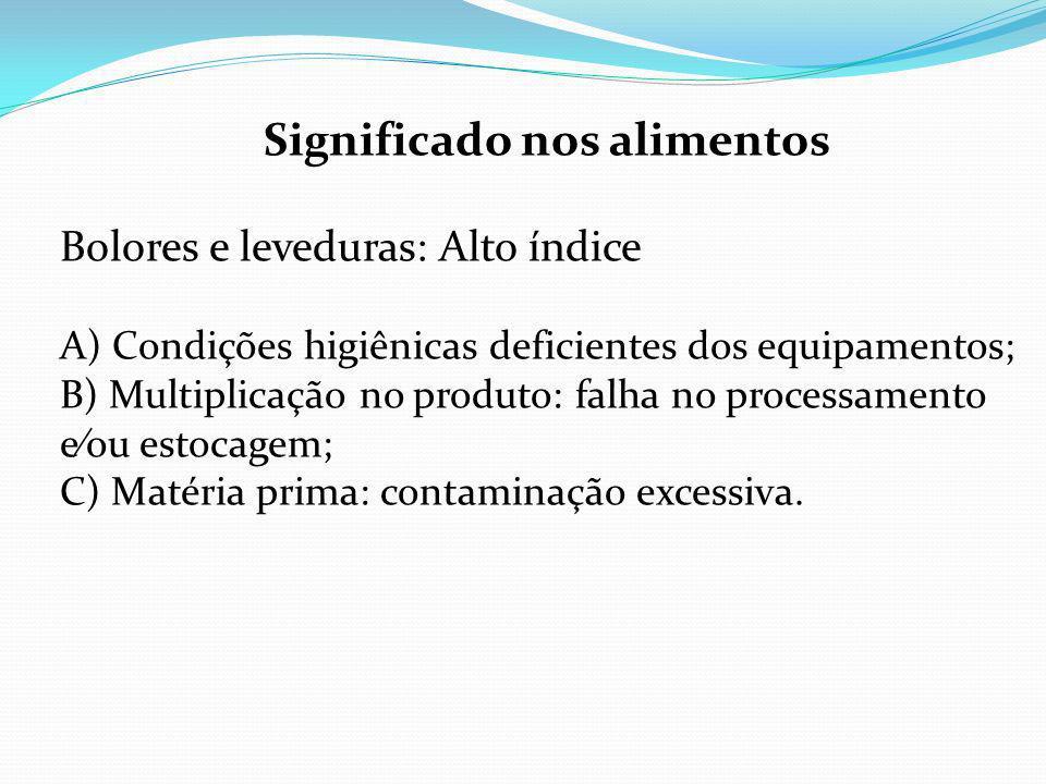 Significado nos alimentos Bolores e leveduras: Alto índice A) Condições higiênicas deficientes dos equipamentos; B) Multiplicação no produto: falha no processamento eou estocagem; C) Matéria prima: contaminação excessiva.