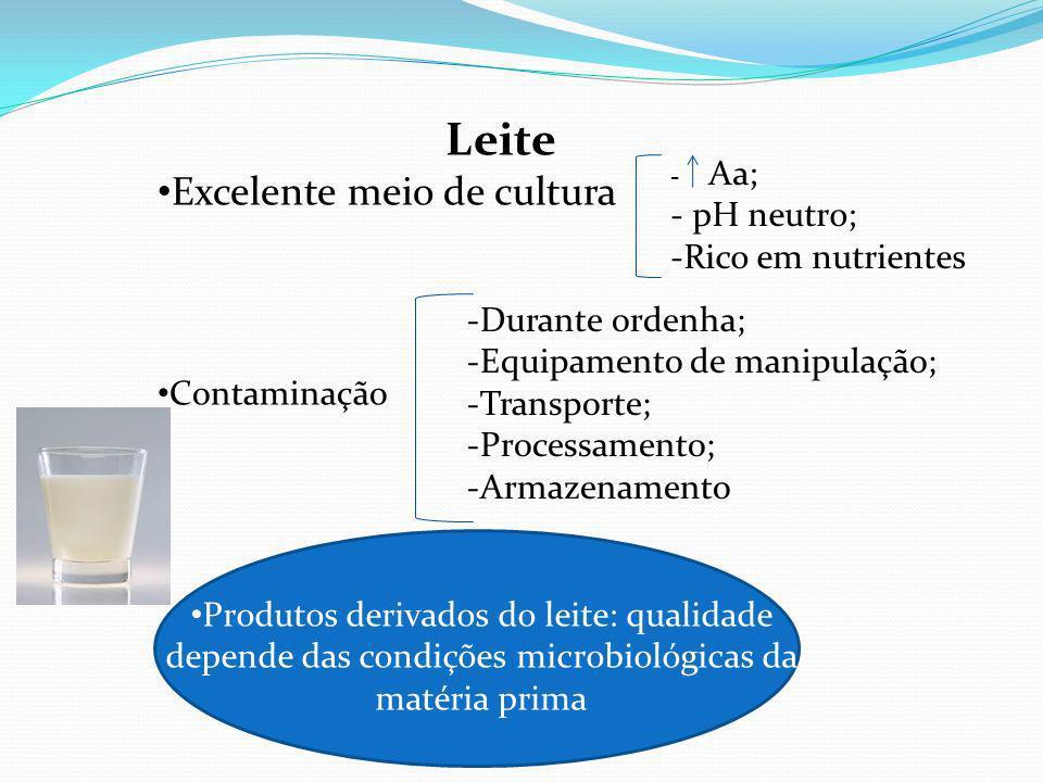 Leite Excelente meio de cultura - Aa; - pH neutro; -Rico em nutrientes Contaminação -Durante ordenha; -Equipamento de manipulação; -Transporte; -Processamento; -Armazenamento Produtos derivados do leite: qualidade depende das condições microbiológicas da matéria prima