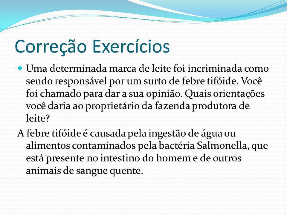 Correção Exercícios Uma determinada marca de leite foi incriminada como sendo responsável por um surto de febre tifóide.
