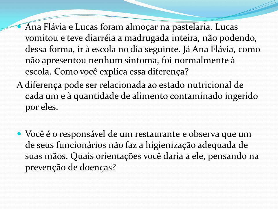 Ana Flávia e Lucas foram almoçar na pastelaria.
