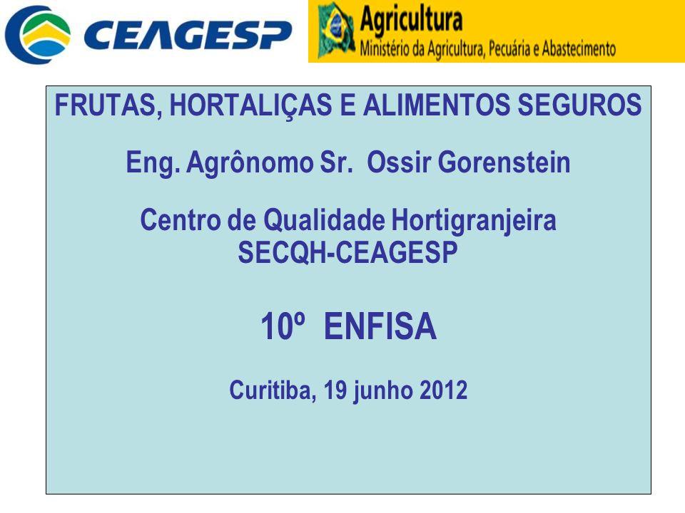 FRUTAS, HORTALIÇAS E ALIMENTOS SEGUROS Eng. Agrônomo Sr. Ossir Gorenstein Centro de Qualidade Hortigranjeira SECQH-CEAGESP 10º ENFISA Curitiba, 19 jun