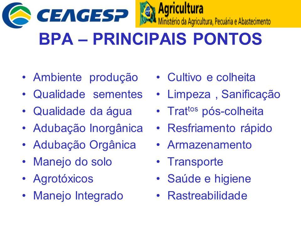 BPA – PRINCIPAIS PONTOS Ambiente produção Qualidade sementes Qualidade da água Adubação Inorgânica Adubação Orgânica Manejo do solo Agrotóxicos Manejo