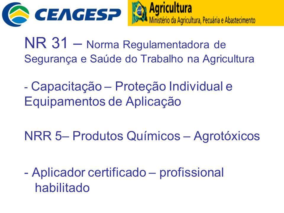 NR 31 – Norma Regulamentadora de Segurança e Saúde do Trabalho na Agricultura - Capacitação – Proteção Individual e Equipamentos de Aplicação NRR 5– P