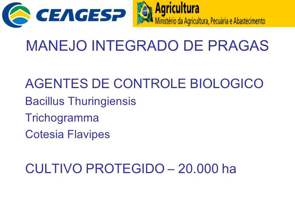 MANEJO INTEGRADO DE PRAGAS AGENTES DE CONTROLE BIOLOGICO Bacillus Thuringiensis Trichogramma Cotesia Flavipes CULTIVO PROTEGIDO – 20.000 ha