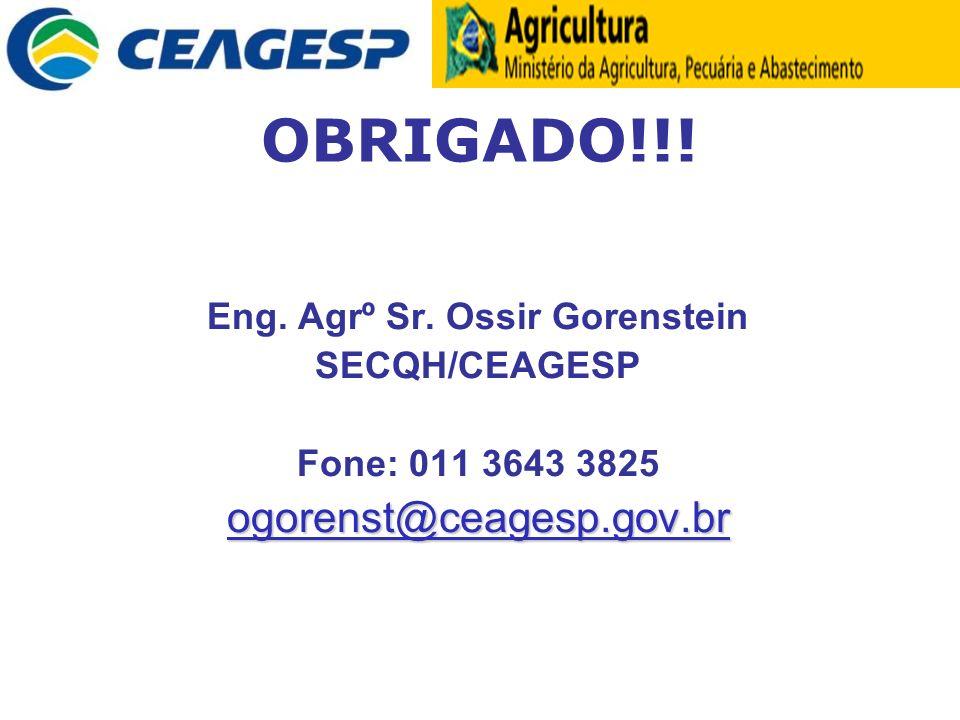 OBRIGADO!!! Eng. Agrº Sr. Ossir Gorenstein SECQH/CEAGESP Fone: 011 3643 3825ogorenst@ceagesp.gov.br