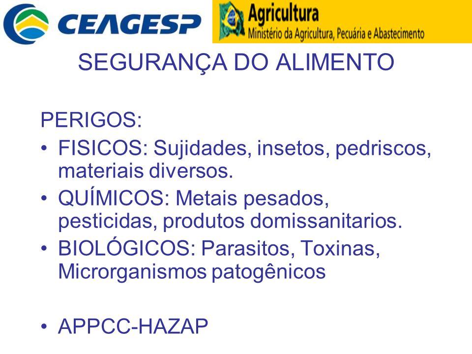 SEGURANÇA DO ALIMENTO PERIGOS: FISICOS: Sujidades, insetos, pedriscos, materiais diversos. QUÍMICOS: Metais pesados, pesticidas, produtos domissanitar