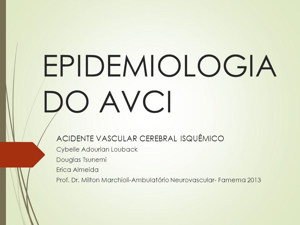 Dados gerais: Mundo: AVC é a 2ª maior causa de morte e a principal de incapacidade Prevalência Mundial de 0,5% a 0,7% população Projeções (sem intervenção) mortes por AVC aumentará de 5,54 para 7,8 milhões em 2030 Brasil: principal causa de óbito DATASUS (2005-2009)- 170 000 internações AVC/ano e 17% de óbitos