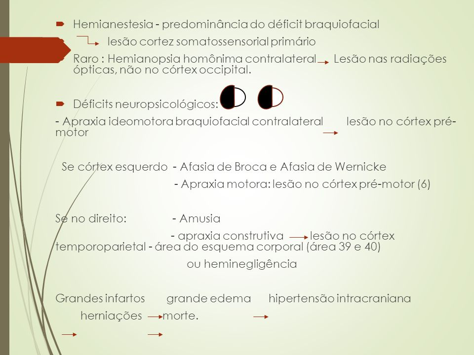 Hemianestesia - predominância do déficit braquiofacial lesão cortez somatossensorial primário Raro : Hemianopsia homônima contralateral Lesão nas radi