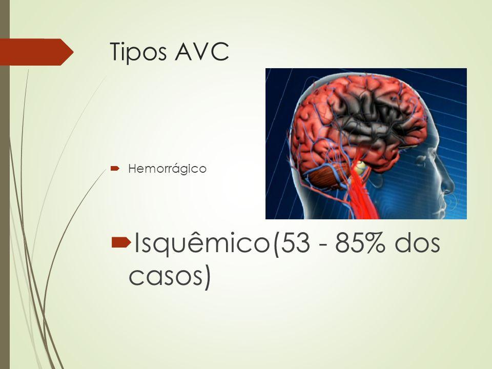 Tipos AVC Hemorrágico Isquêmico(53 - 85% dos casos)