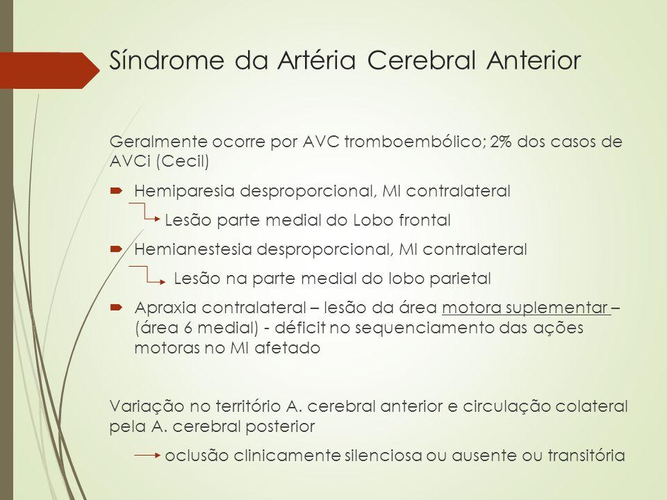 Síndrome da Artéria Cerebral Anterior Geralmente ocorre por AVC tromboembólico; 2% dos casos de AVCi (Cecil) Hemiparesia desproporcional, MI contralat