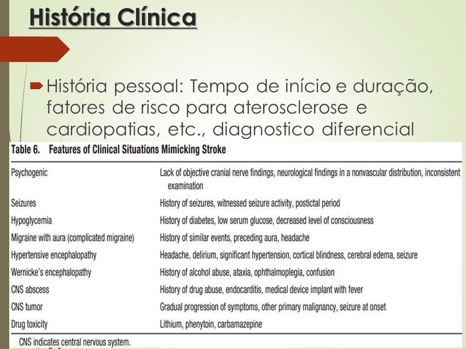 História Clínica História pessoal: Tempo de início e duração, fatores de risco para aterosclerose e cardiopatias, etc., diagnostico diferencial (strok