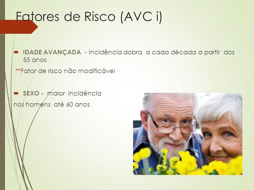 Fatores de Risco (AVC i) HIPERTENSÃO ARTERIAL – risco relativo de 6 vezes de desenvolver AVCi Presente em 60 - 70% dos casos de AVCi ** Principal Fator de Risco modificável