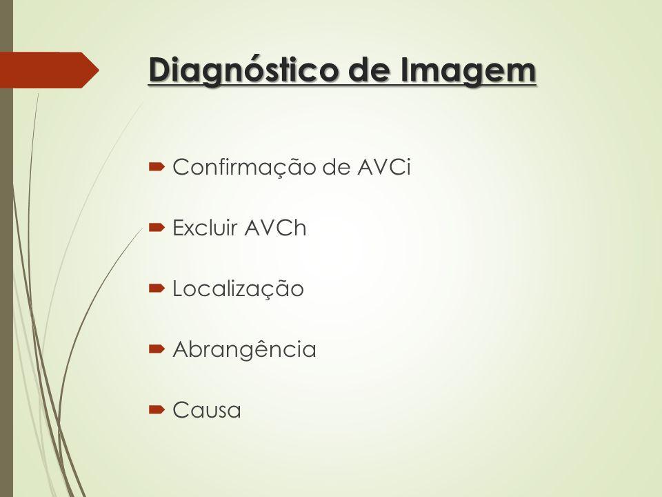 Diagnóstico de Imagem Confirmação de AVCi Excluir AVCh Localização Abrangência Causa