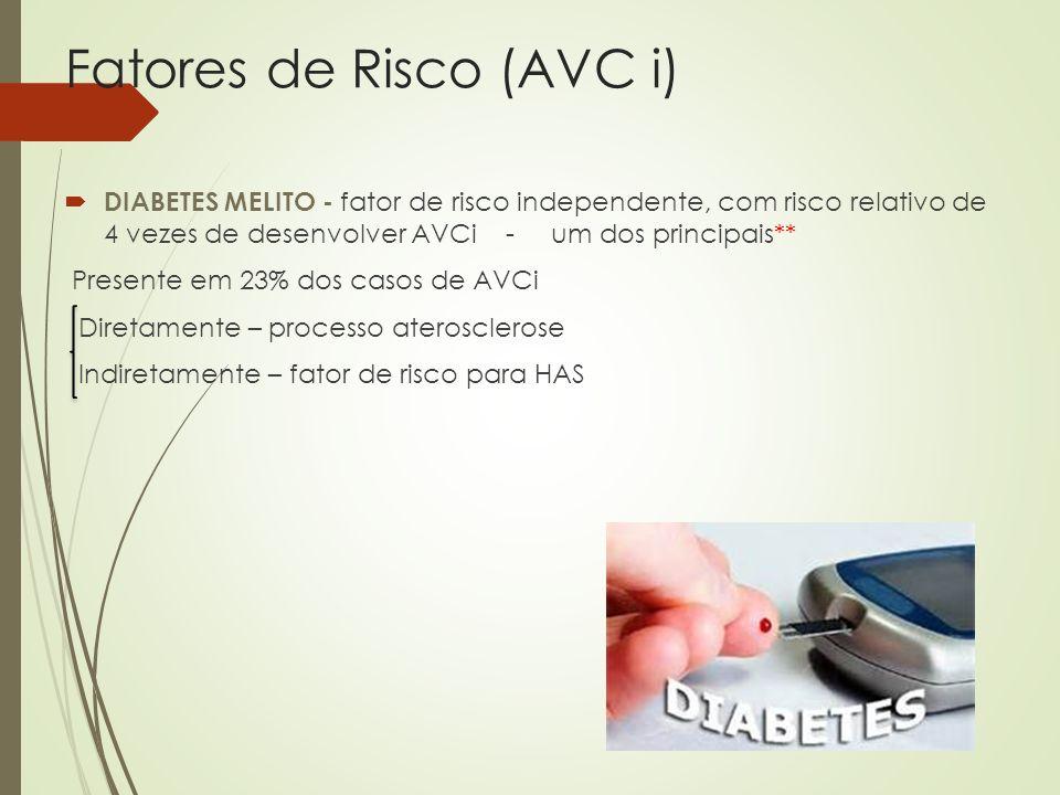 Fatores de Risco (AVC i) DIABETES MELITO - fator de risco independente, com risco relativo de 4 vezes de desenvolver AVCi - um dos principais** Presen