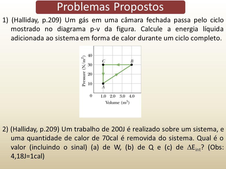1) (Halliday, p.209) Um gás em uma câmara fechada passa pelo ciclo mostrado no diagrama p-v da figura. Calcule a energia líquida adicionada ao sistema