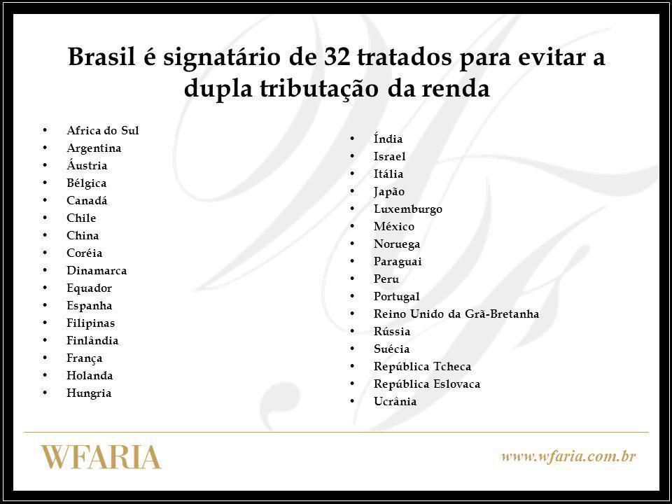 www.wfaria.com.br Brasil é signatário de 32 tratados para evitar a dupla tributação da renda Africa do Sul Argentina Áustria Bélgica Canadá Chile Chin