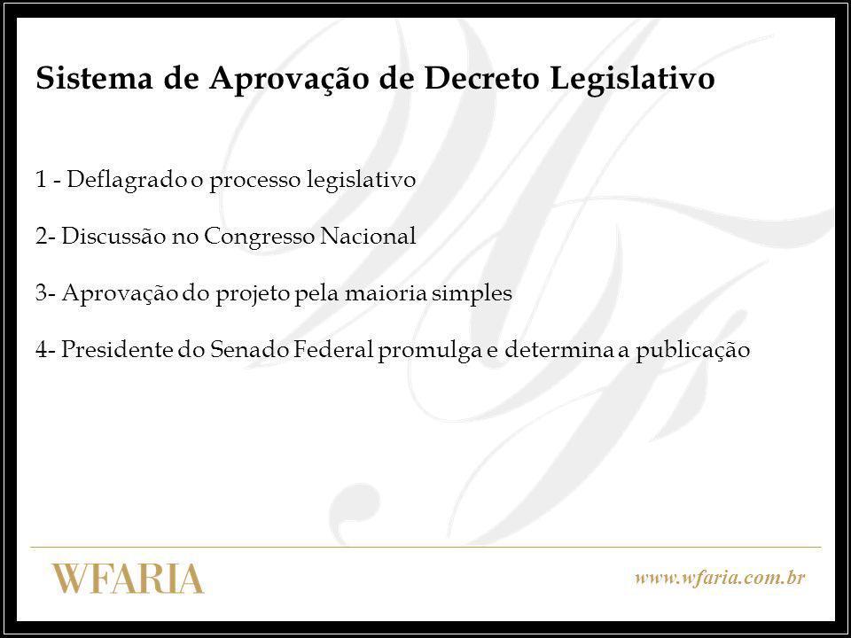 www.wfaria.com.br Tratados Internacionais e Ordenamento Interno Discussão sobre a prevalência ou não dos tratados sobre o ordenamento jurídico interno Status de Lei Ordinária ou Lei Complementar?