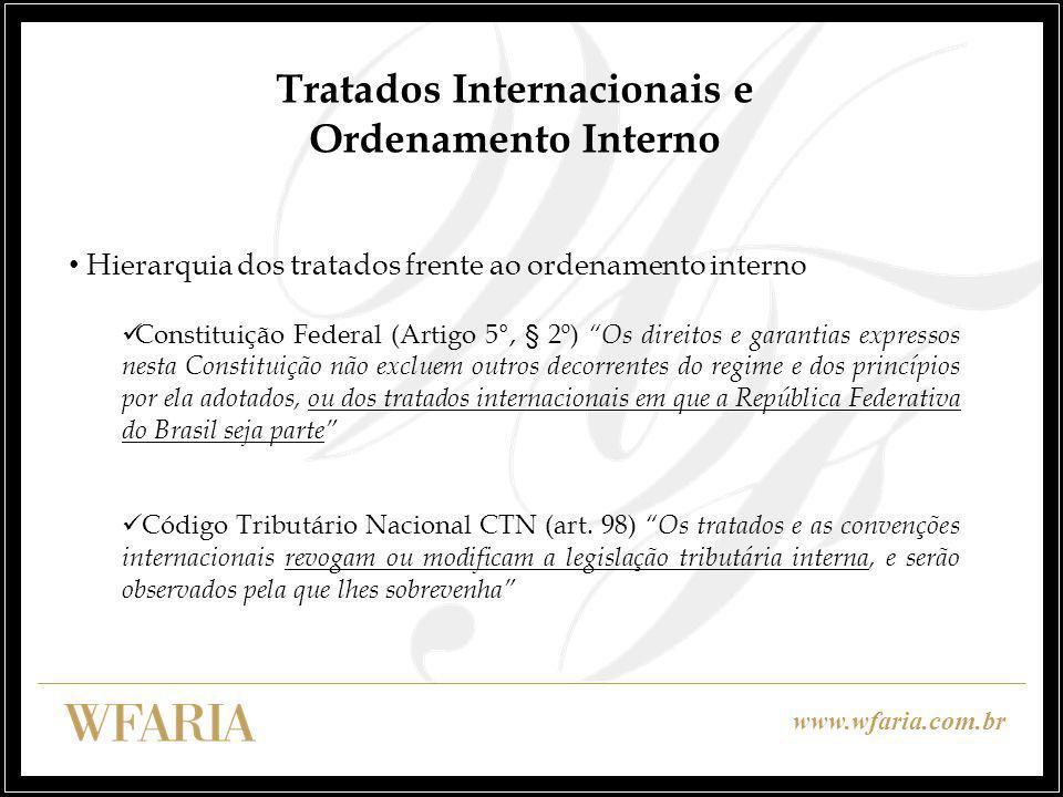 www.wfaria.com.br Tratados Internacionais e Ordenamento Interno Hierarquia dos tratados frente ao ordenamento interno Constituição Federal (Artigo 5°,