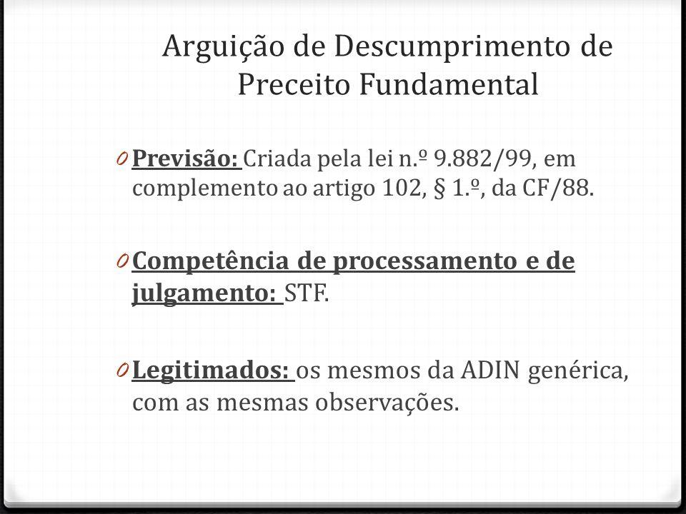 0 Previsão: Criada pela lei n.º 9.882/99, em complemento ao artigo 102, § 1.º, da CF/88. 0 Competência de processamento e de julgamento: STF. 0 Legiti