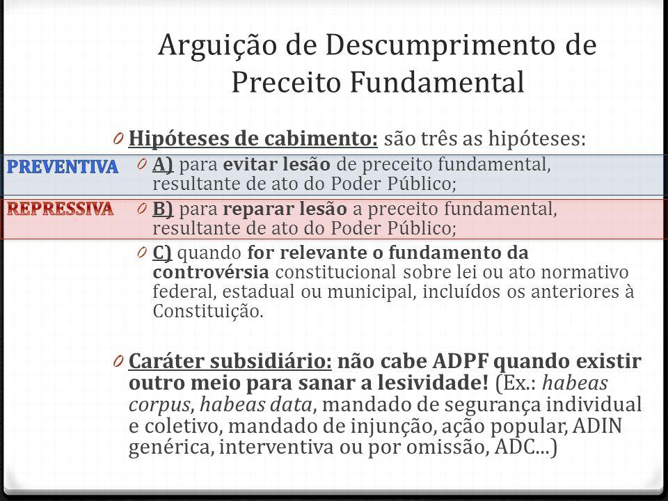0 Hipóteses de cabimento: são três as hipóteses: 0 A) para evitar lesão de preceito fundamental, resultante de ato do Poder Público; 0 B) para reparar