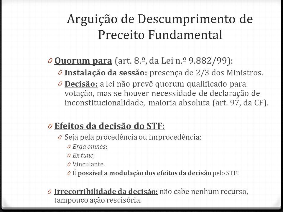 0 Quorum para (art. 8.º, da Lei n.º 9.882/99): 0 Instalação da sessão: presença de 2/3 dos Ministros. 0 Decisão: a lei não prevê quorum qualificado pa