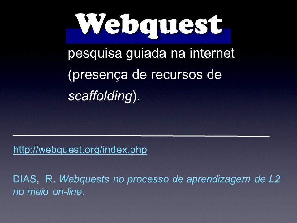 pesquisa guiada na internet (presença de recursos de scaffolding).