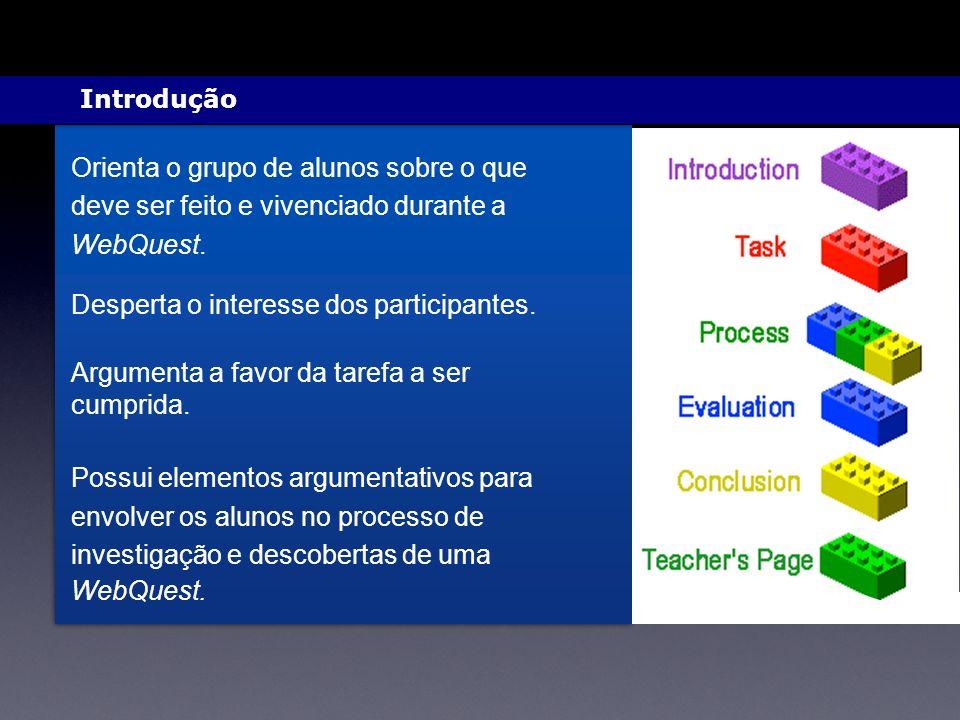 Orienta o grupo de alunos sobre o que deve ser feito e vivenciado durante a WebQuest.