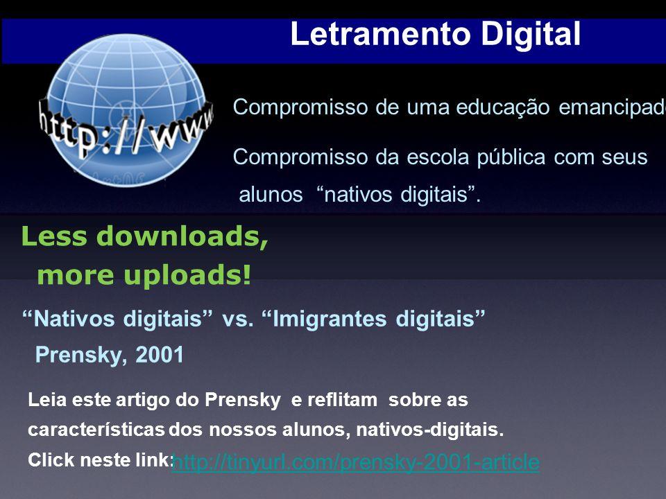 Letramento Digital Leia este artigo do Prensky e reflitam sobre as características dos nossos alunos, nativos-digitais.