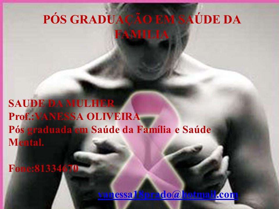 SAUDE DA MULHER Prof.:VANESSA OLIVEIRA Pós graduada em Saúde da Família e Saúde Mental.